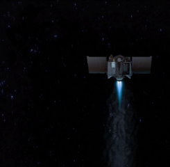 Artist's conception of NASA's OSIRIS-REx spacecraft during a burn of its main engine